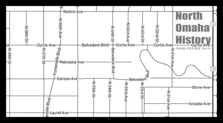 Map of Belvedere, North Omaha, Nebraska