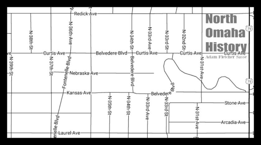 Map of Belvedere, North Omaha, Nebraska