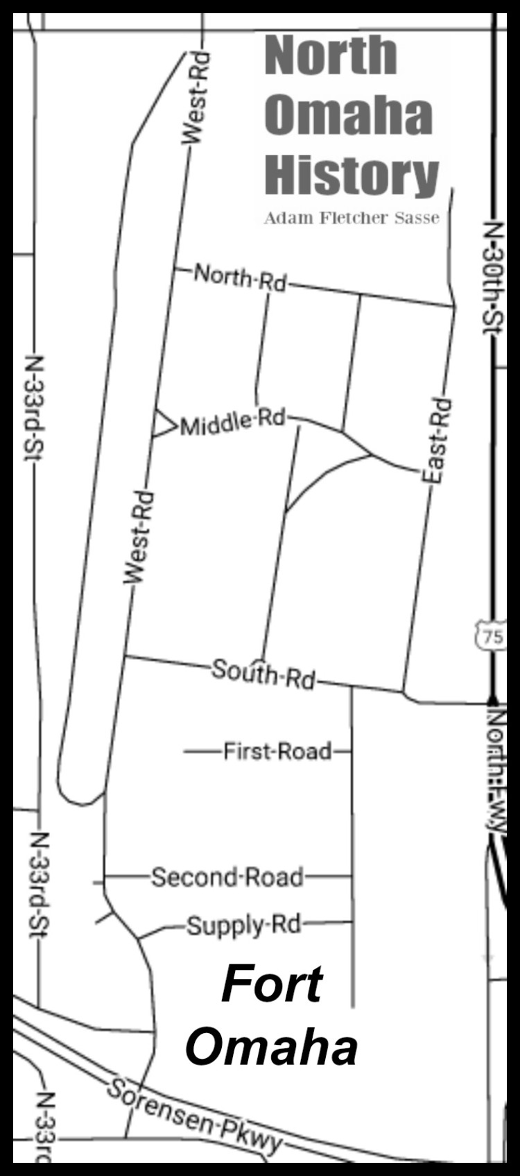 Map of Fort Omaha, North Omaha, Nebraska