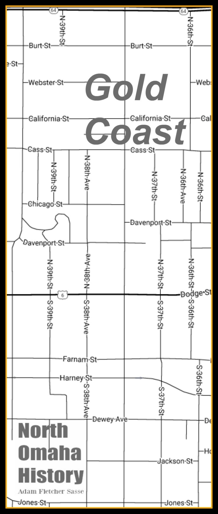 Map of Gold Coast, North Omaha, Nebraska