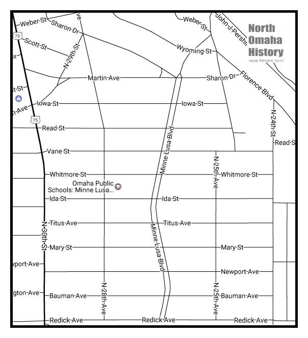 Map of Minne Lusa, North Omaha, Nebraska