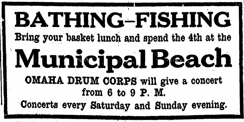 Omaha Municipal Beach ad 1919