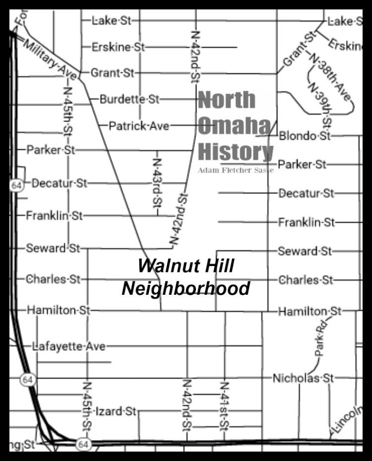 Map of Walnut Hill, North Omaha, Nebraska