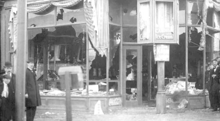 This is a pic from the 1908 Greek Town Riot when Omahans destroyed a section of South Omaha, Nebraska