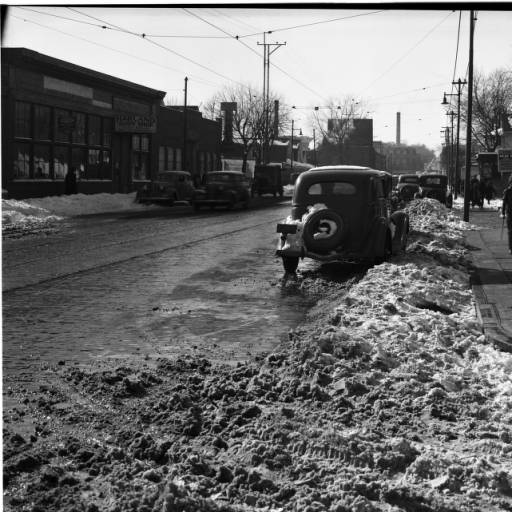 Cuming Street at North 25th, looking west towards the Robert's Dairy and Tech High School.