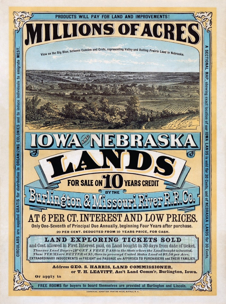 "This is an image of an 1858 poster for ""Millions of acres"" in Iowa and Nebraska lands."