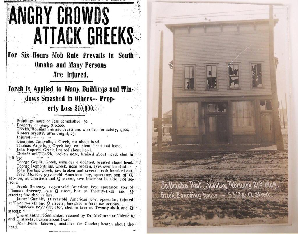 South Omaha Greek Riots, S. 33rd and Q Streets, Omaha, Nebraska. February 21, 1909