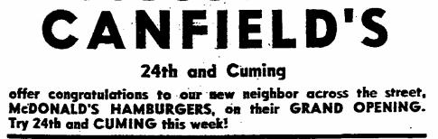 1962 McDonald's ad 24th and Cuming, Omaha