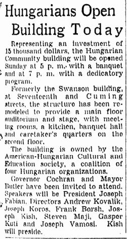 Hungarian Community Center, 17th and Cuming, North Omaha, Nebraska