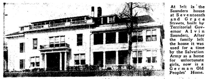 Saunders Mansion, N. 17th and Grace Streets, North Omaha, Nebraska