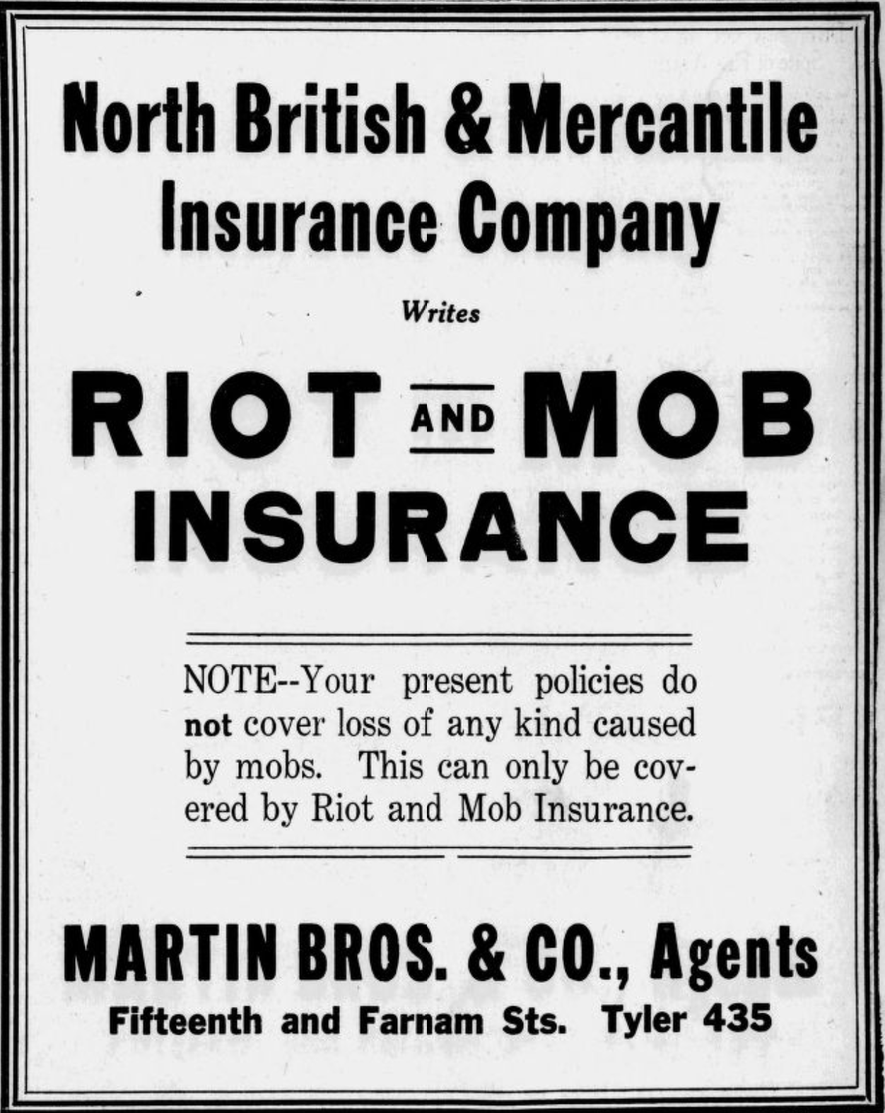 1919 North British & Mercantile Insurance Company ad, Omaha Bee