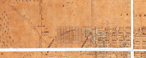 1866 map of Omaha, Nebraska showing Cuming Street and Military Road