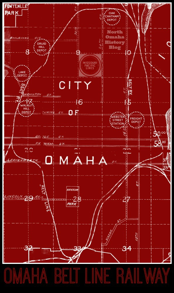 This is a 1910 map of the Omaha Belt Line Railway map.