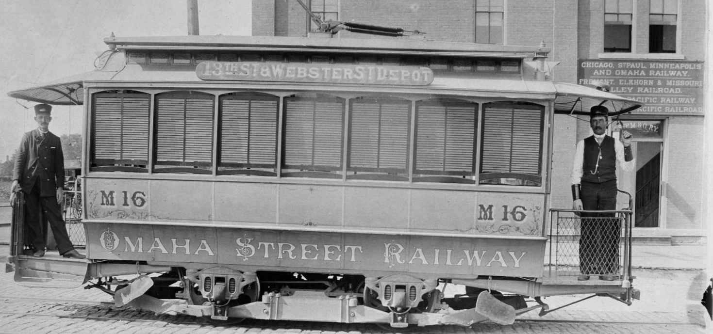 an Omaha Street Railway electric streetcar
