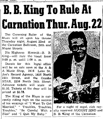 BB King at North Omaha's Carnation Ballroom in August 1957.