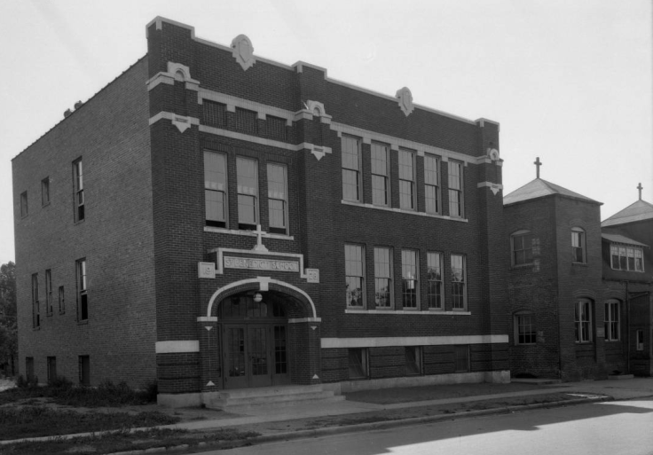 St. Benedict's parish church and school at 24th and Grant in North Omaha, Nebraska.
