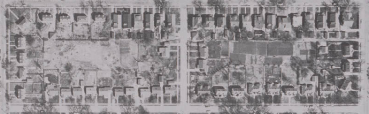 This is a 1958 aerial pic of the Miller Park Duplex Historic District, N. 24th and Himebaugh, North Omaha, Nebraska