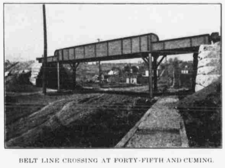 Belt Line Railroad crossing at North 45th Street and Cuming Street, North Omaha, Nebraska