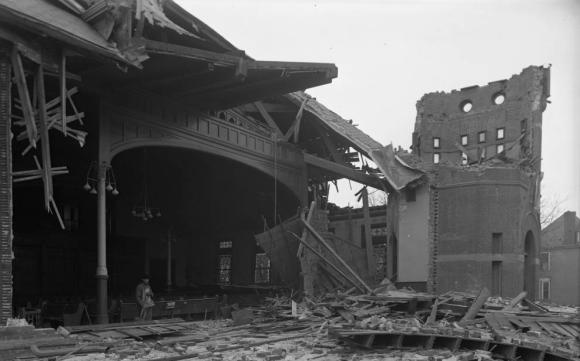 1913 Easter Sunday tornado damage to Trinity Methodist Church, North Omaha, Nebraska