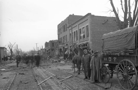 24th and Lake Army soldiers after the 1913 Easter Sunday tornado