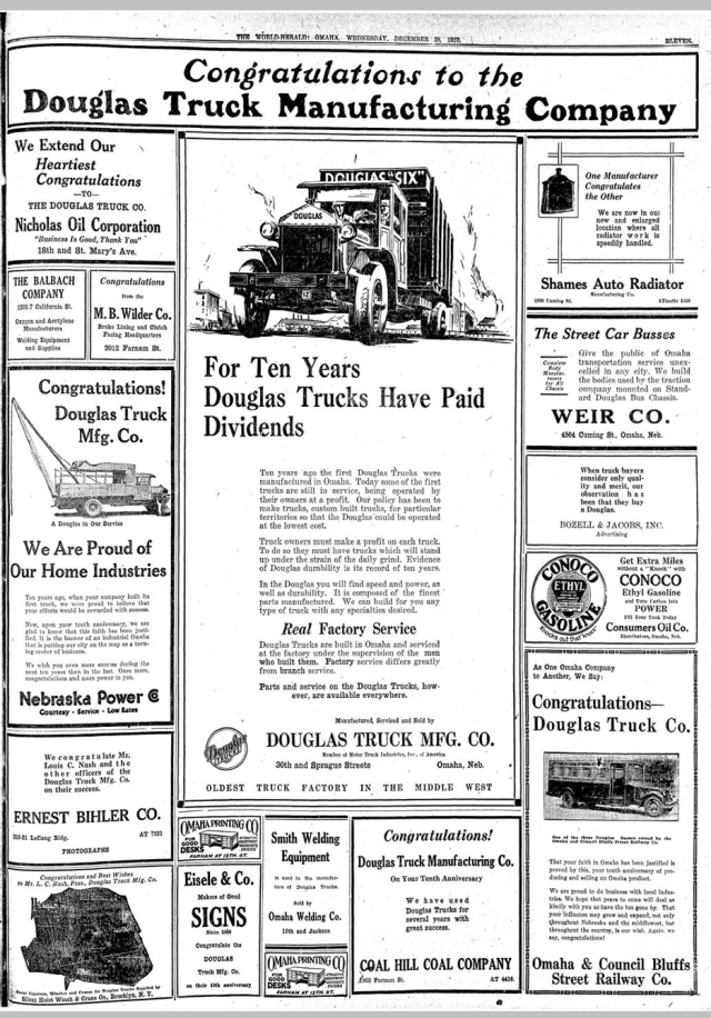 A 1927 ad from the Omaha World-Herald congratulates the Douglas Truck Manufacturing Company for building its new factory.