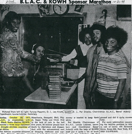 A 1975 newspaper clipping from the Omaha Star highlighting a marathon at KOWH led by B.L.A.C. and the radio station.