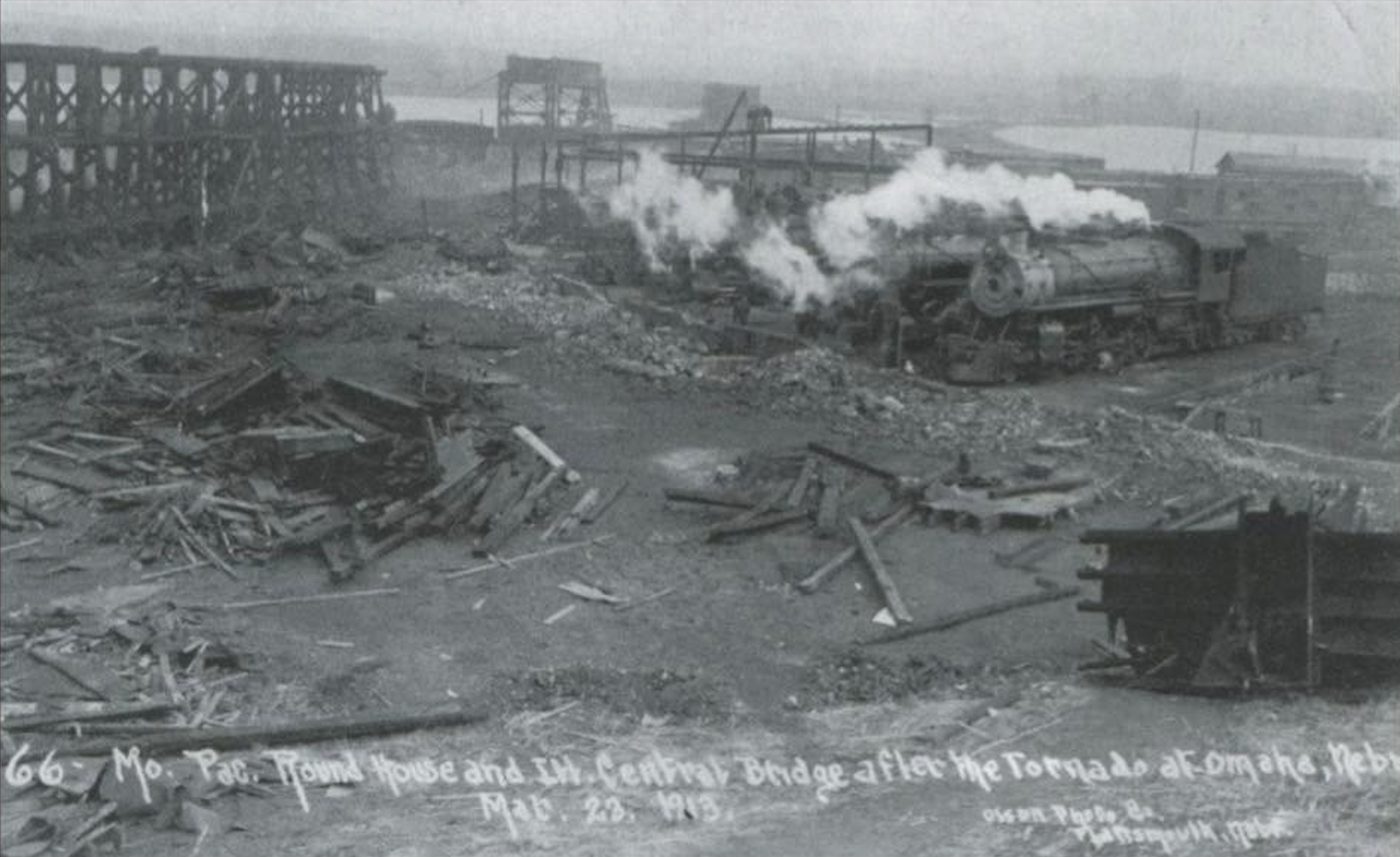 North Omaha Roundhouse after 1913 Easter Sunday tornado