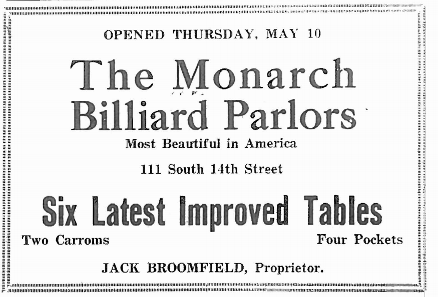 Monarch Billiard Parlors, 111 South 14th Street, Omaha, Nebraska