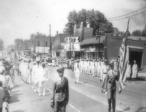 Circa 1931 Black Elks parade, North 24th Street, North Omaha, Nebraska