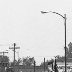 Looking north on 24th Street, you can see the past skyline including the Dreamland Ballroom, Tuxedo Billiards, the Omaha Stay, Fair Deal Cafe, the drug store and more...