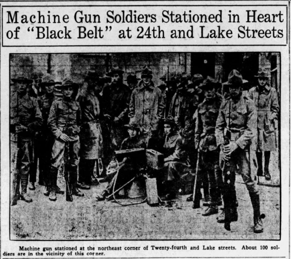 """Machine Gun Soldiers Stationed in heart of 'Black Belt' at 24th and Lake Streets"" in North Omaha, Nebraska"