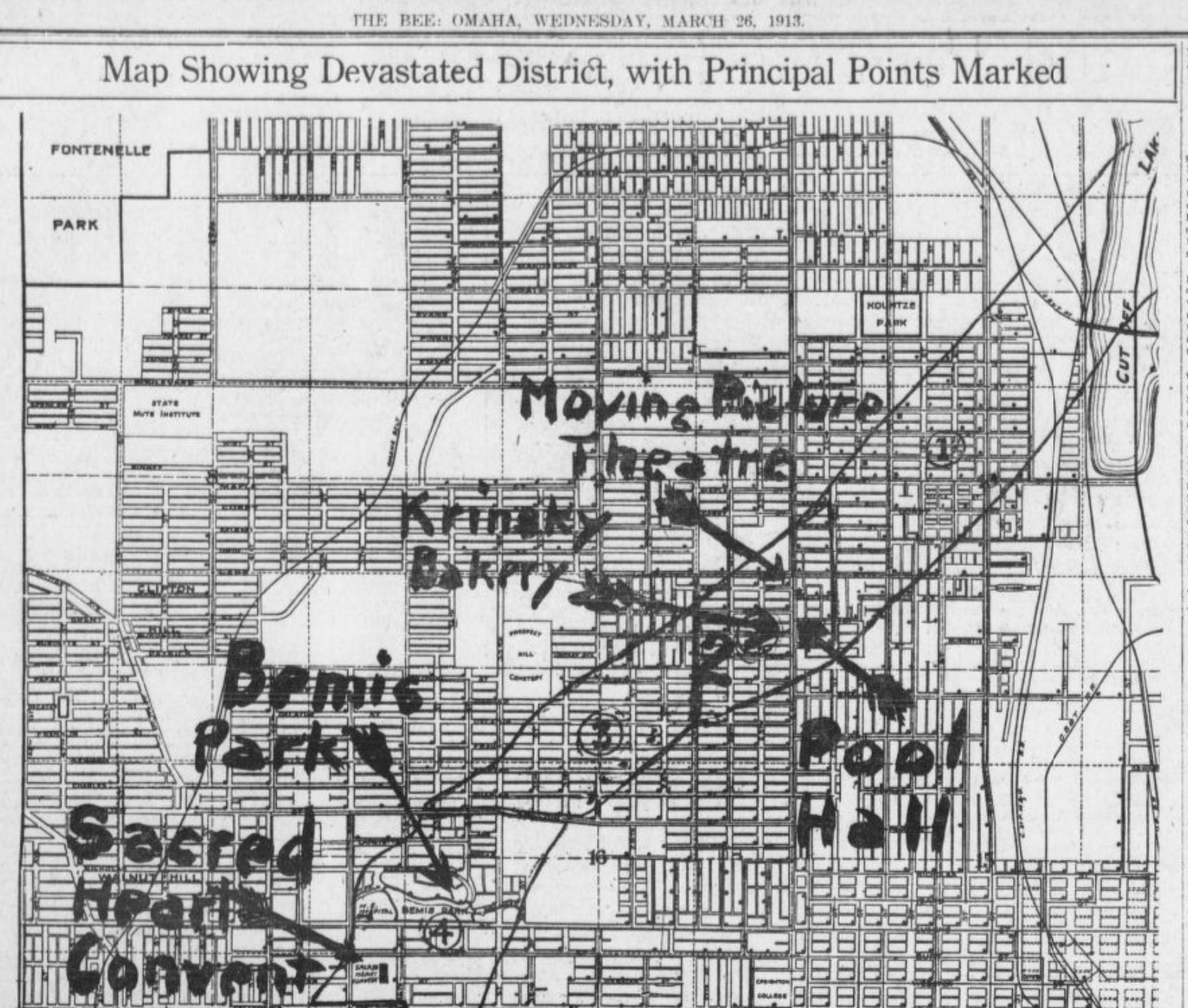 1913 Easter Sunday Tornado path, Omaha Bee newspaper