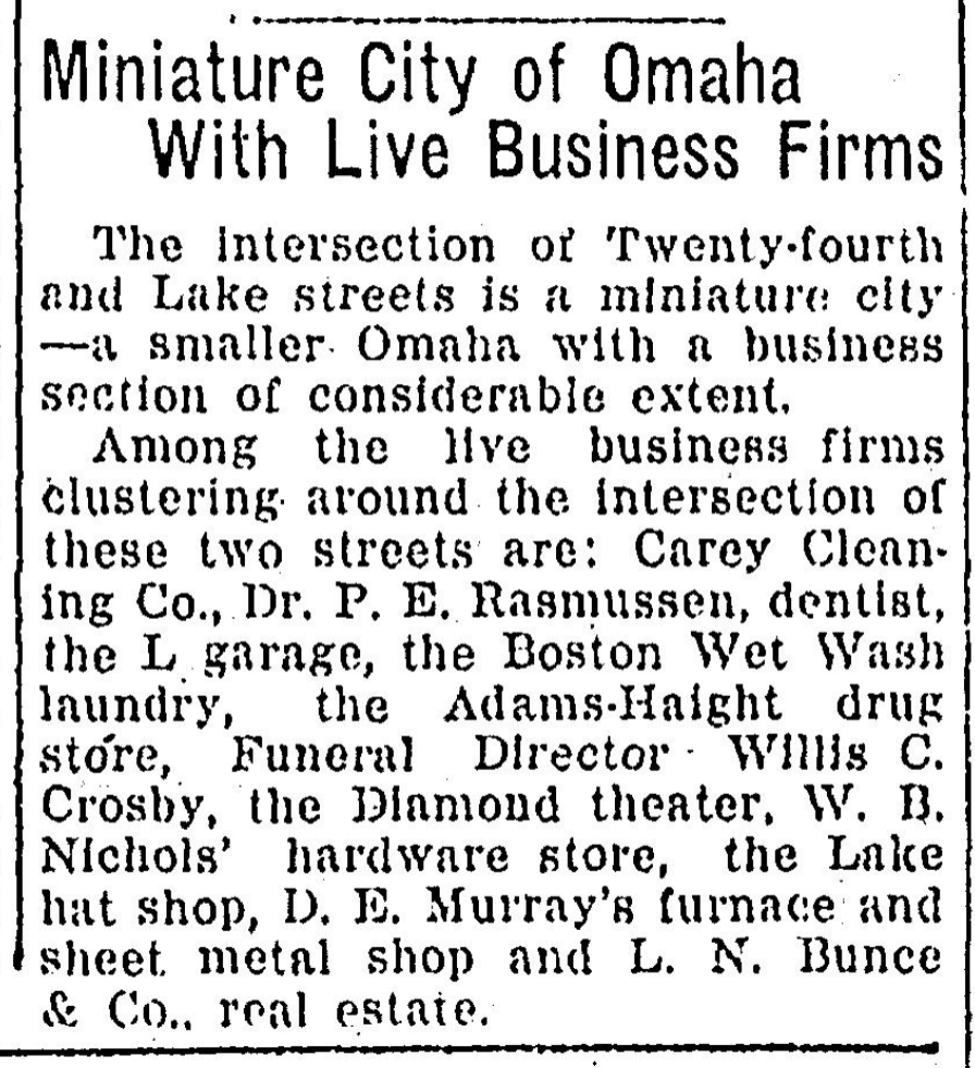 """September 8, 1918 Omaha World-Herald called """"Miniature City of Omaha With Live Business Firms"""""""