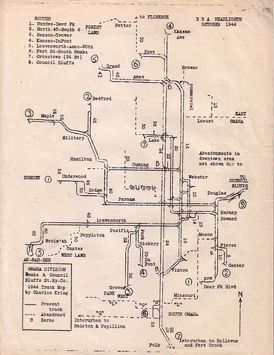 1944 Omaha and Council Bluffs Street Railway Company map