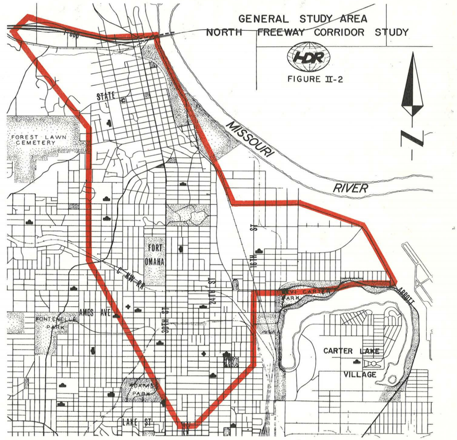 1975 North Freeway impact map, North Omaha, Nebraska