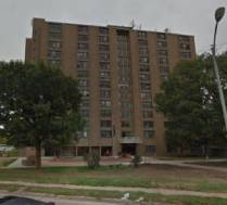 This is the Benson Tower at 5900 Northwest Radial Highway in North Omaha, Nebraska.