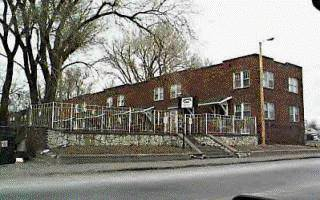 These are the La Grata Court apartments that were at 2116 Sherman Avenue in North Omaha. Built in the 1920s, they were demolished in the 1990s.