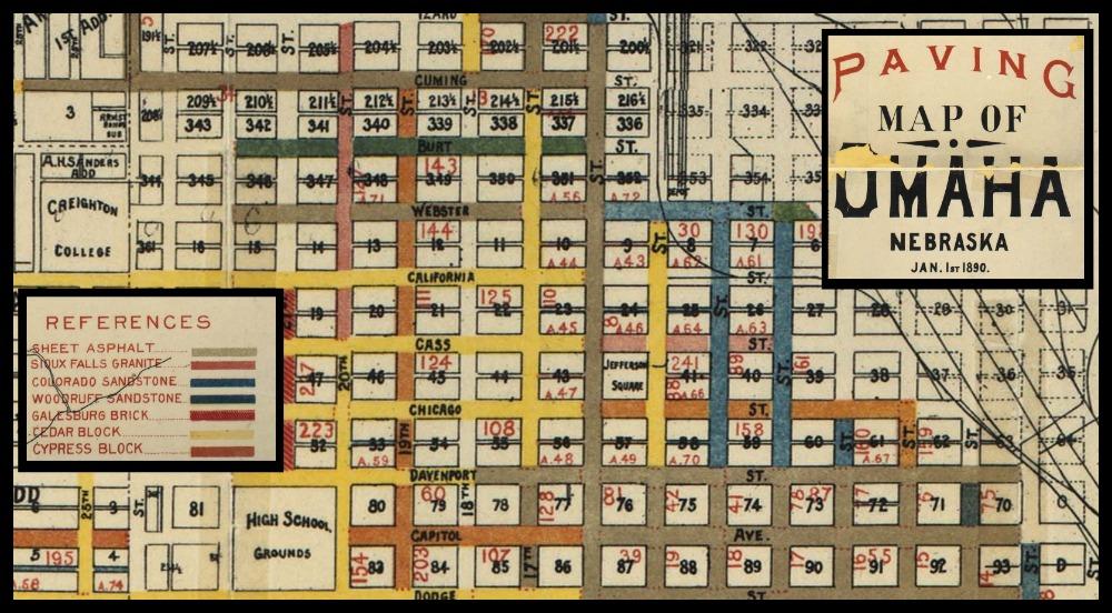 1890 North Downtown Omaha Paving Map North Omaha History