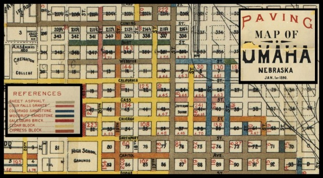 1890 North Downtown Omaha Paving Map