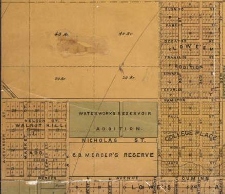 1882 map of Orchard Hill, North Omaha, Nebraska