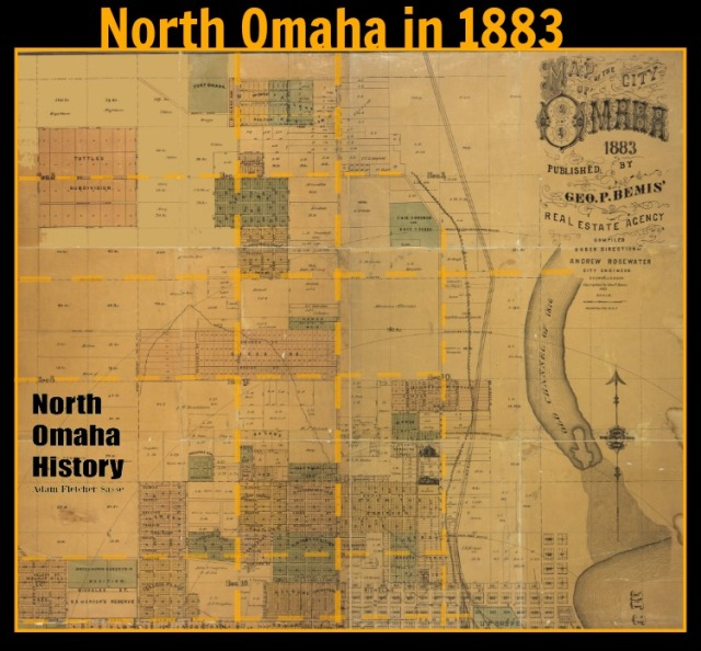 1883 George Bemis map of North Omaha with major streets in yellow.