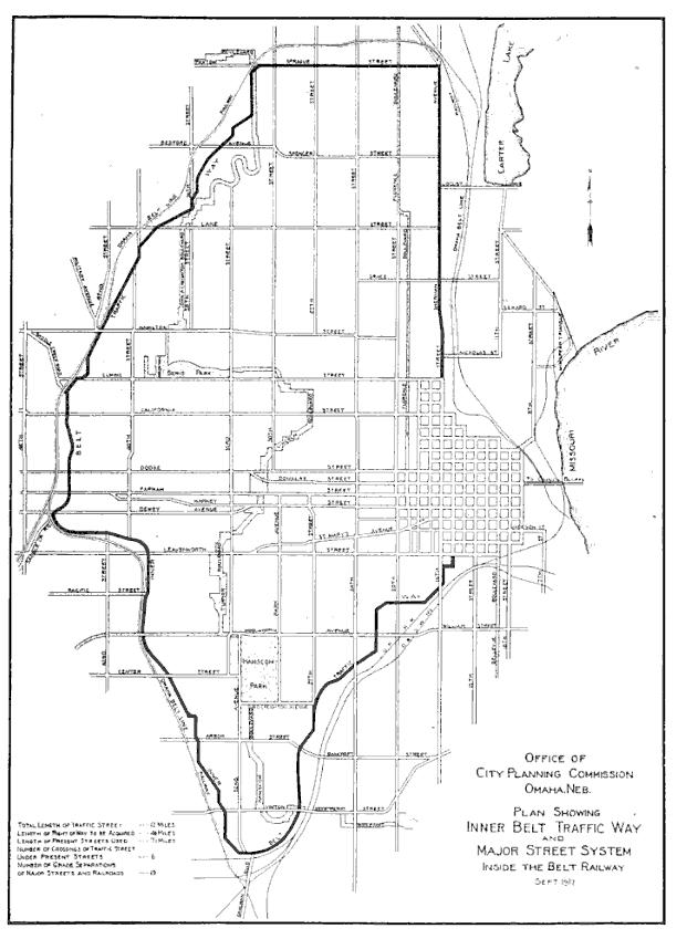 1912 Omaha Belt Traffic Map