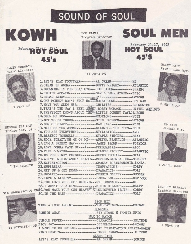 With Don Davis as Program Director, in 1972, other personalities at North Omaha's KOWH included Erven McSwain, Buddy King, Herman Pearson, Ed Mims, The Magnificent One, and Beverly Blakely.