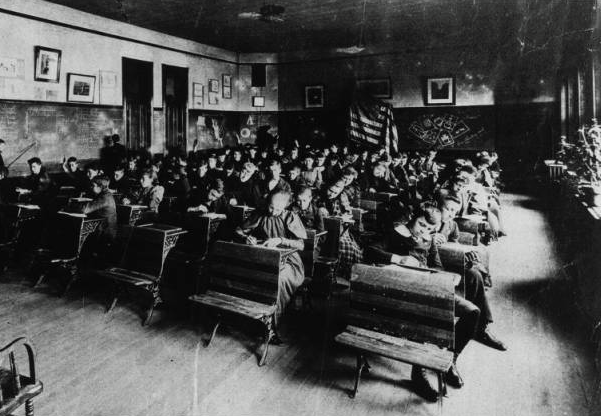 This is a second grade class at Lake School in North Omaha in 1904.