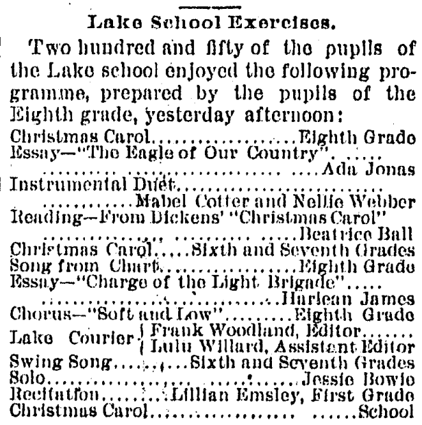 "The first theatrical presentation of Charles Dickens' ""A Christmas Carol"" in Omaha was in December 1890. The performance was a reading from the book as part of a Christmas program put on by the Lake School, one of Omaha's earliest schools. Lake School was located on the Near North Side, at 2410 North 19th Street. The student who read from Dickens was Beatrice Ball."