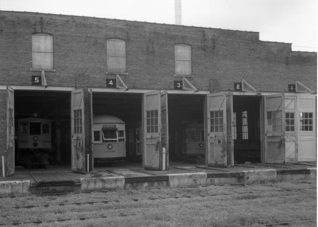 This is the west side of the streetcar maintenance building at 26th and Lake in North Omaha.