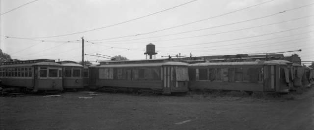 These are decommissioned streetcars at the 26th and Lake streetcar maintenance yard in the 1930s.