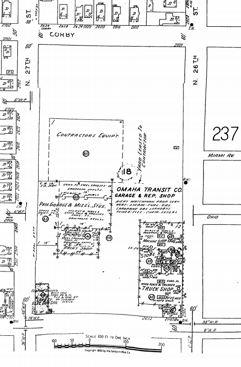 Omaha Transit Company Garage and Repair Shop at N. 26th and Lake Streets in North Omaha, Nebraska.