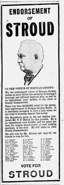 Thomas Stroud campaign ad 1917