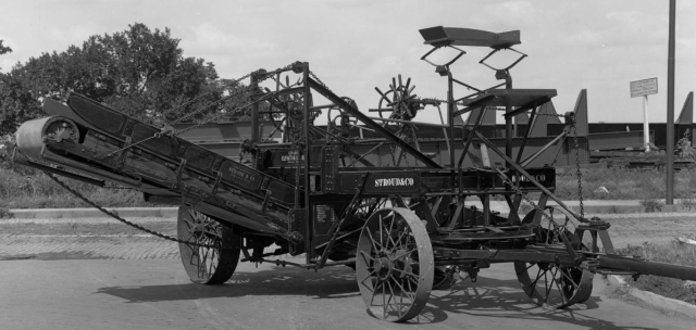 """Stroud and Company's """"Little Red Wagon"""" was a road-making machine."""